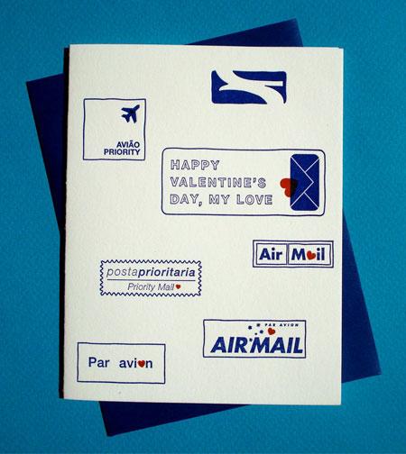 Airmail Letterpress Valentine
