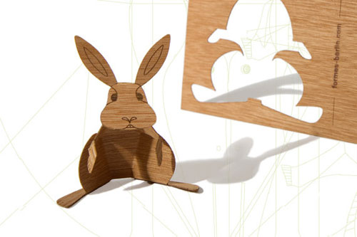 Wood Veneer Rabbit Postcard by Formes Berlin