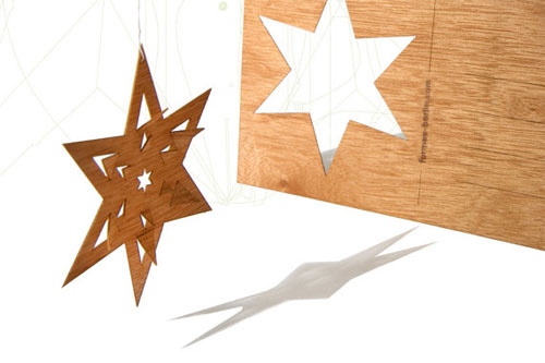 Wood Veneer Star Postcard by Formes Berlin