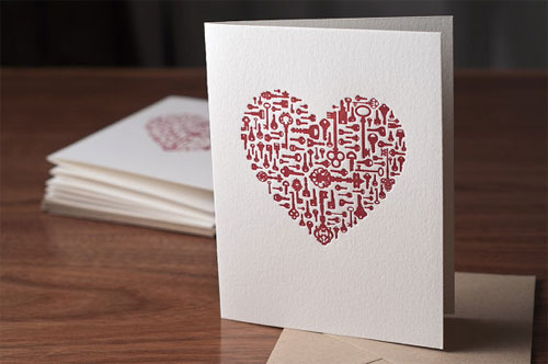 Keys to My Heart Letterpress Card
