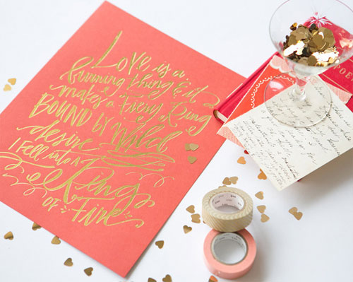 "Lindsay Letters Gold Foil Stamped ""Ring of Fire"" Print"