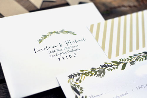 Botanical Wedding Envelope Detail