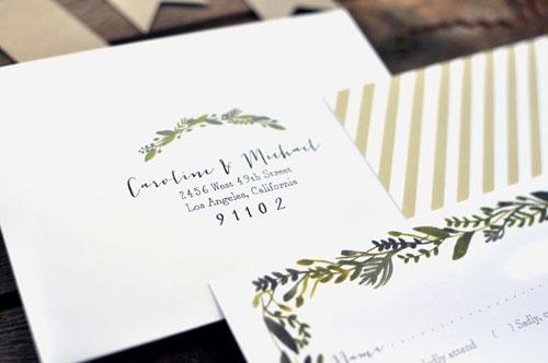 Botanical Wedding Envelope Detail