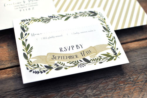 Nature Inspired Wedding RSVP Card