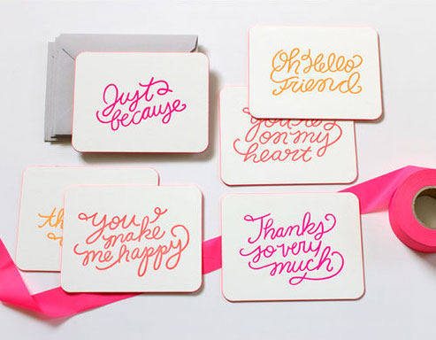 Hand Lettered Neon Greeting Cards
