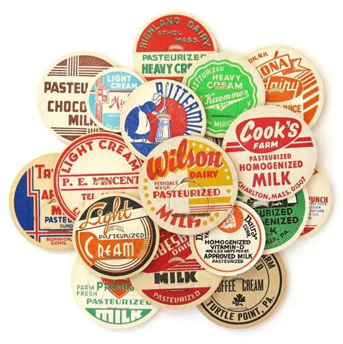 Vintage Milk Caps from Saturday Morning Vintage