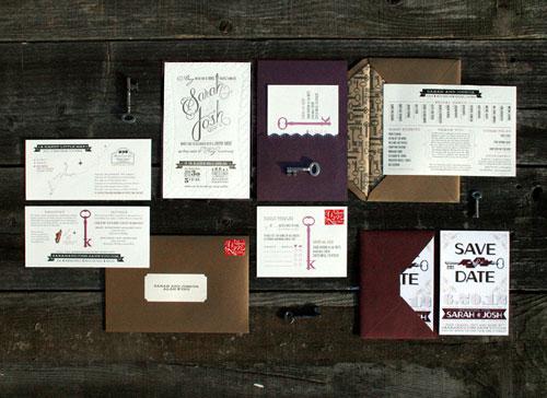 Key Themed Letterpress Wedding Invitations