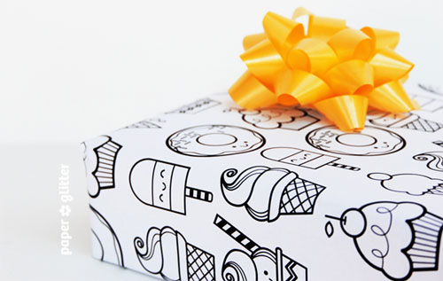 Paper Glitter Printable Desserts Gift Wrap