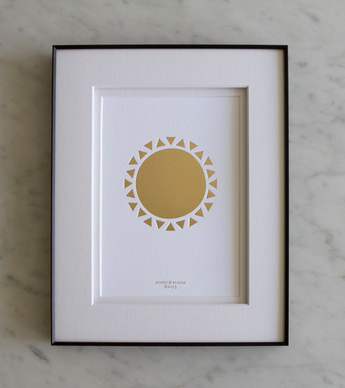 Golden Sun Gold Foil Debossed Print | Honey & Bloom