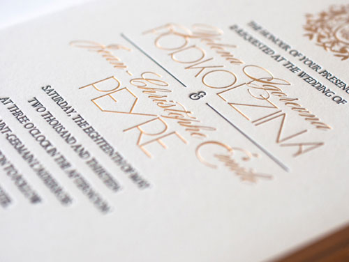 Gold and Black Letterpress Wedding Invitations | Atelier Isabey