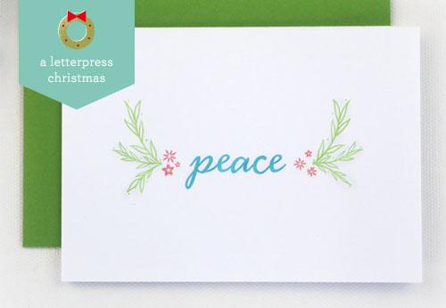 Letterpress Peace Holiday Card | Rafftruck Designs