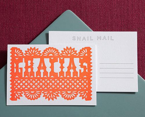 Gracias Linocut Letterpress Postcard   Lilco