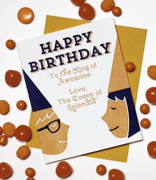Happy Birthday King/Queen Letterpress Card | Paper Bandit Press