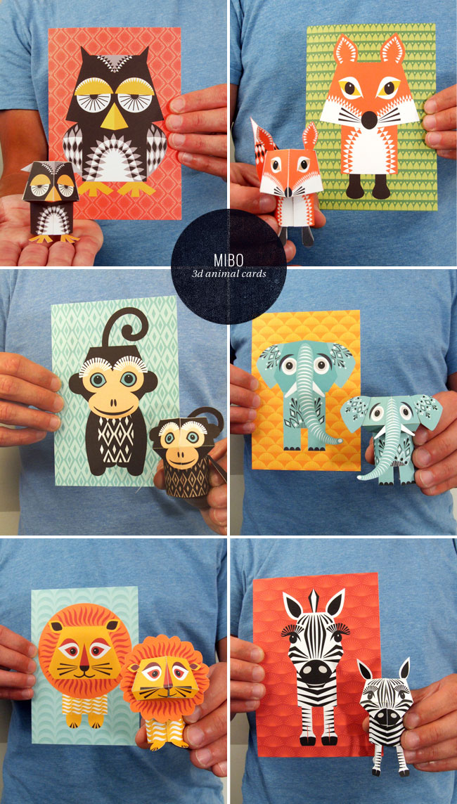 3D Illustrated Animal Cards | Mibo