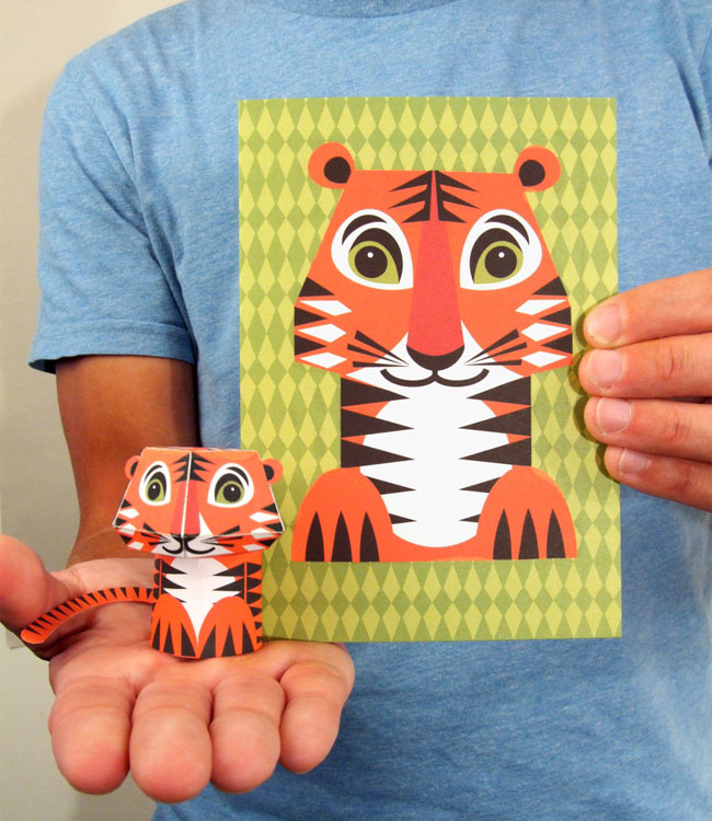 3D Tiger Paper Toy Card | Mibo
