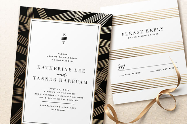 Foil Pressed Wedding Invitations | Minted