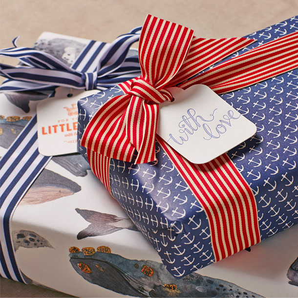 Anchors & Whales Double Sided Gift Wrap   Bespoke Letterpress