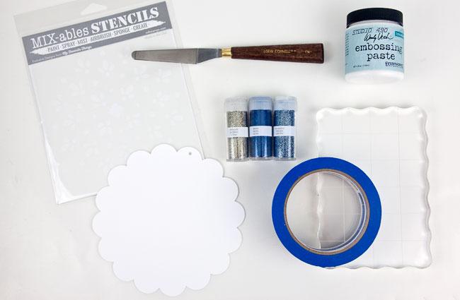 Stencil Glitter Snowflake Supplies