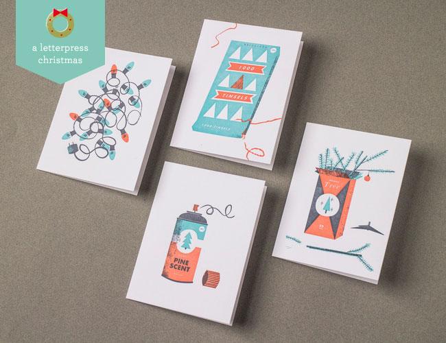 Vintage Christmas-Inspired Letterpress Cards | Tom Froese (Illustration) + Everlovin' Press (Printing)