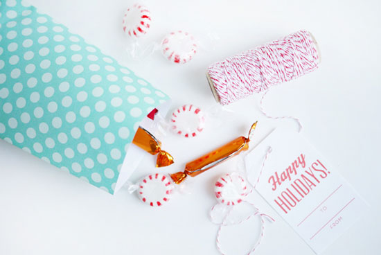 Free Printable Holiday Gift Bag & Tag by Alix Sorrell for Oh Happy Day