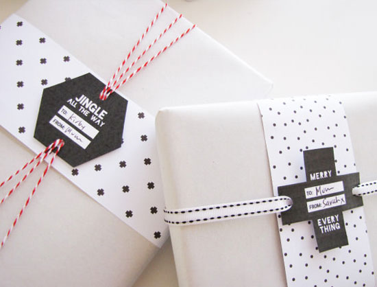 Clever Black & White Free Printable Holiday Gift Tags by Tomfo