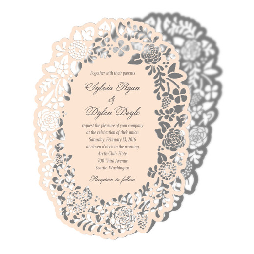 Laser Cut Floral Wedding Invitations by Alexis Mattox Design