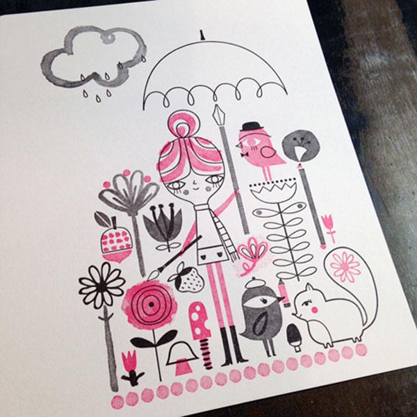 Drawing in the Rain Letterpress Print | Suzy Ultman (printing by Igloo Letterpress)