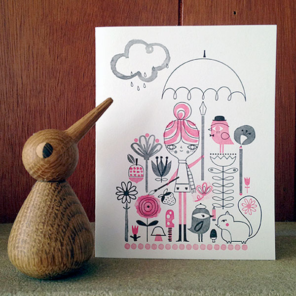 Drawing in the Rain Letterpress Card | Suzy Ultman (printing by Igloo Letterpress)
