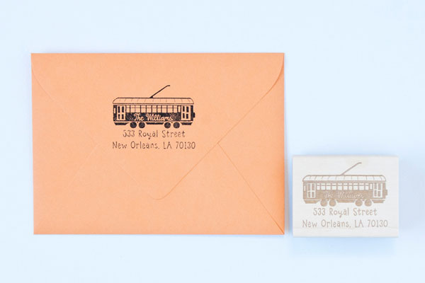 Streetcar Personalized Address Stamp by Felicette