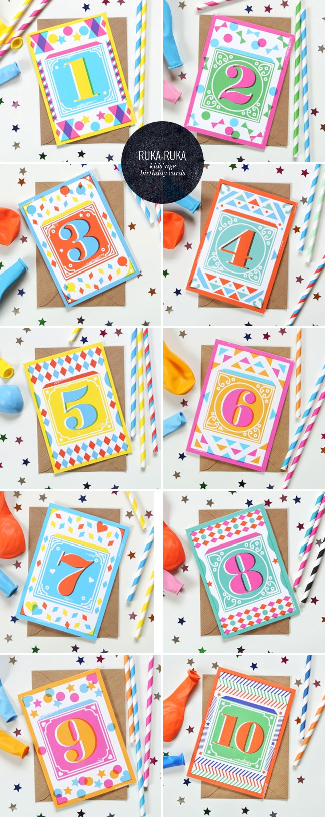 Kids' Age Birthday Cards by Ruka-Ruka