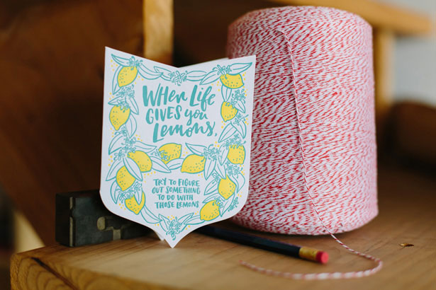 Lemons Letterpress Card by Frog & Toad Press