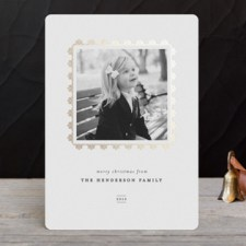Modern Frame Foil Holiday Photo Cards by Olivia Kanaley