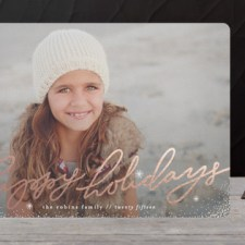 Hand Lettered Foil Holiday Photo Cards by Melanie Severin