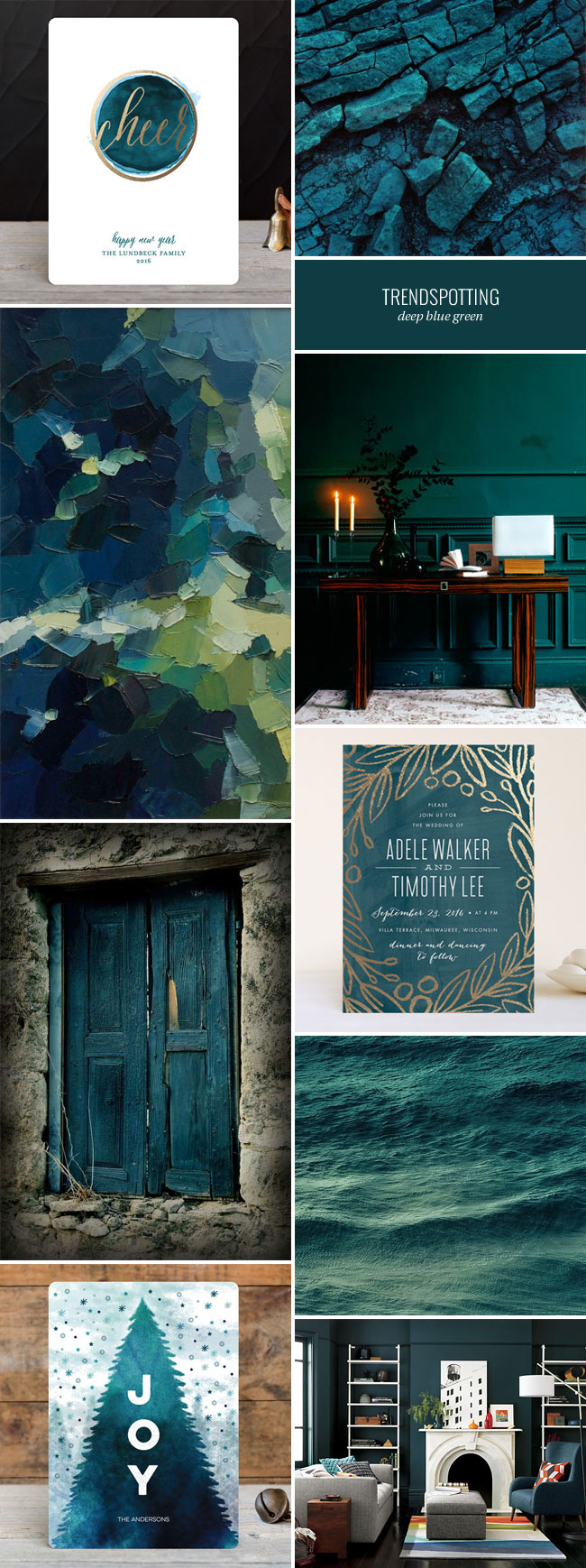 2016 Stationery Color Trends Deep Blue Green