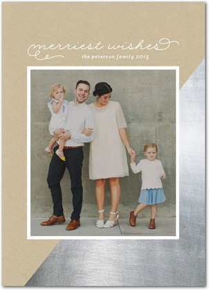 Modern Silver Folded Holiday Photo Cards by Stacey Day