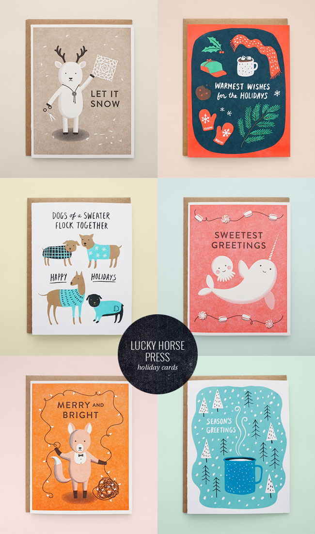 Illustrated Holiday Cards from Lucky Horse Press
