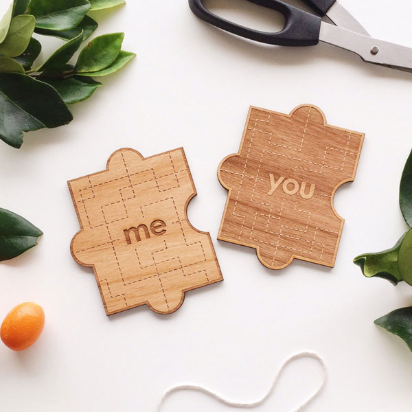 You & Me Real Wood Puzzle Card by Cardtorial