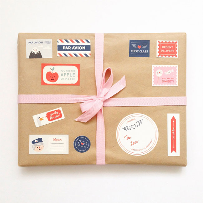 Valentine's Day Postage Stickers from Fable Paper Co.