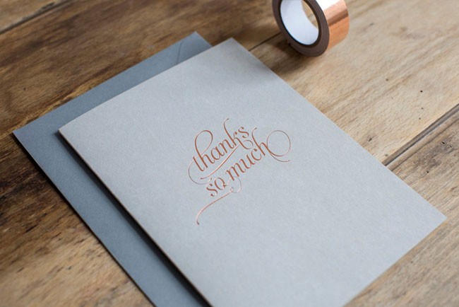 Copper Foil Thank You Card by Nothing But Lovely