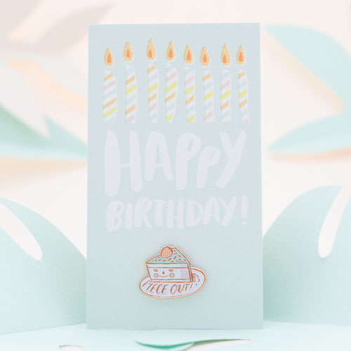 Hello! Lucky Enamel Birthday Cake Pin