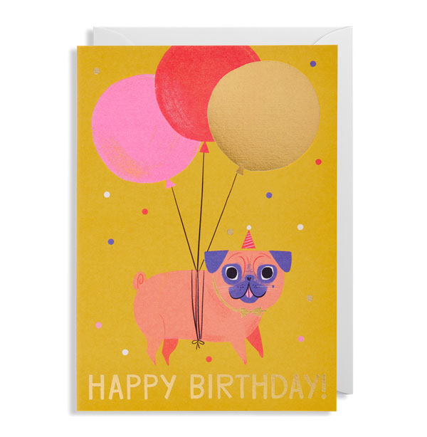 Pug Birthday Card by Allison Black for Lagom