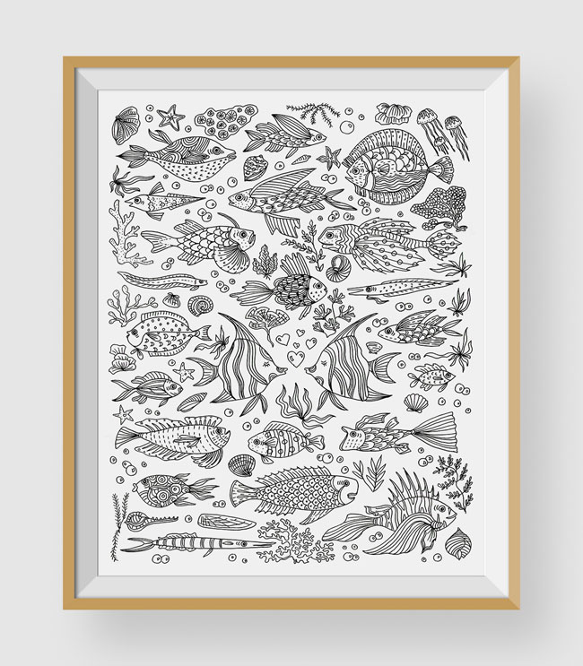 Fish Coloring Art Print by Chic + Nawdie