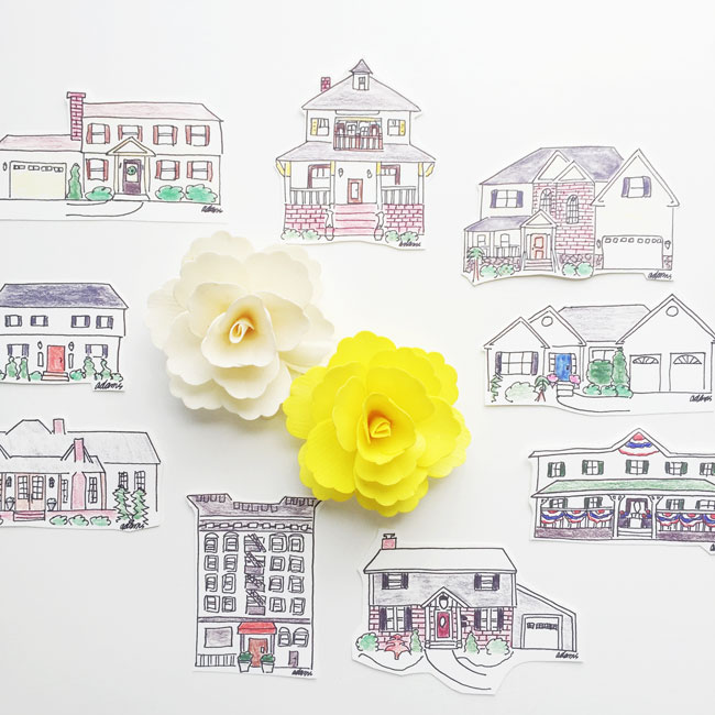 Custom Mini House Drawings by Geralyn Adams