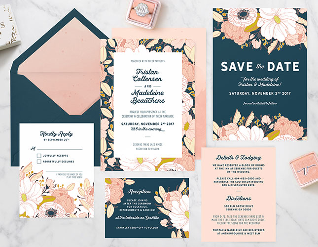 Night Floral Wedding Invitations from Paper Raven Co.