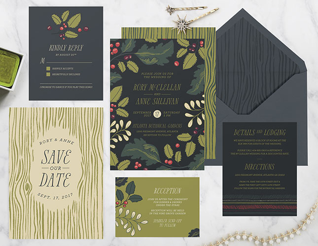 Wildwood Forest Wedding Invitations from Paper Raven Co.
