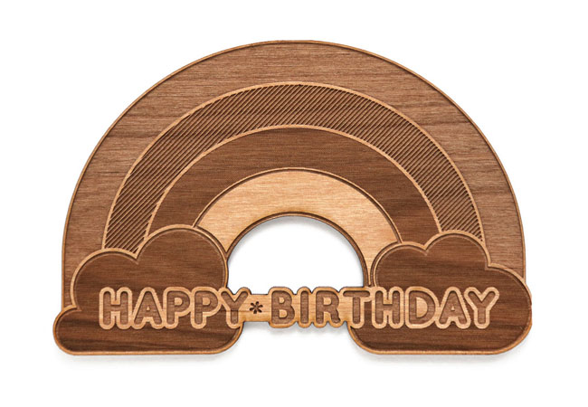 Rainbow Birthday Real Wood Card by Cardtorial