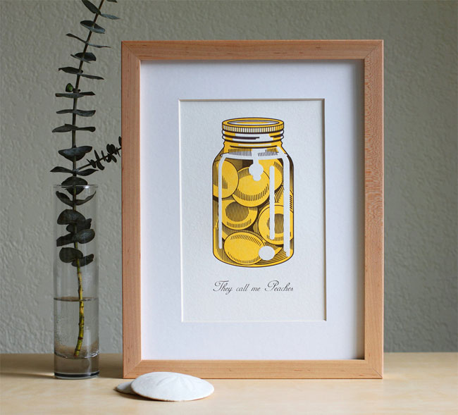 Peaches Letterpress Art Print from Fickle Hill Press