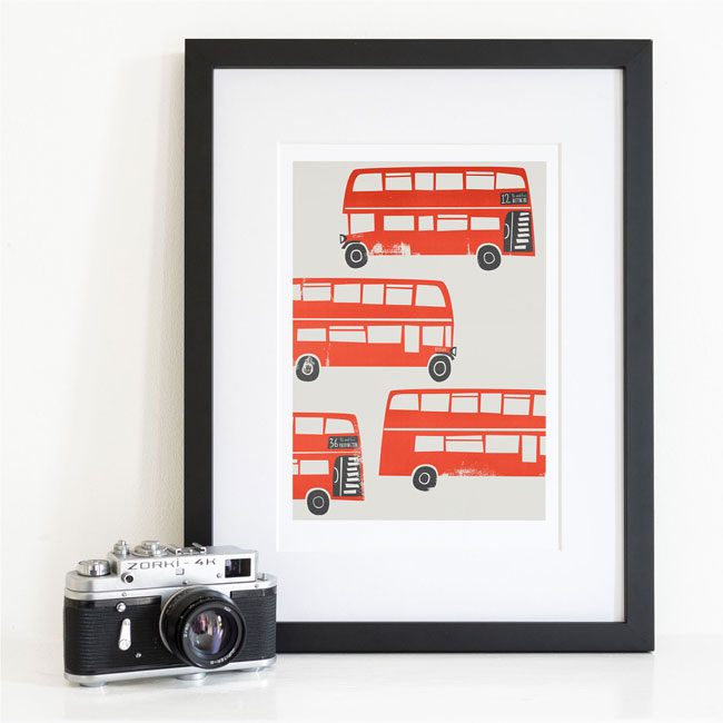Fox & Velvet Illustrated Double Decker Bus Art Print