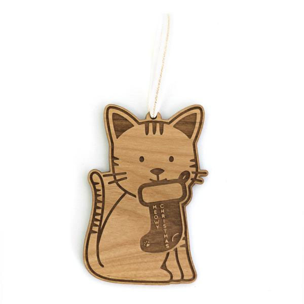 Cat Laser Cut Wood Holiday Ornament by Cardtorial