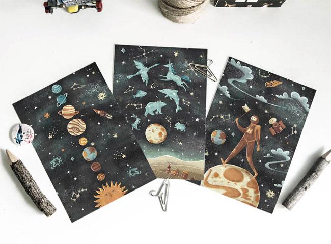 Celestial Themed Illustrated Postcards by Dot Boat